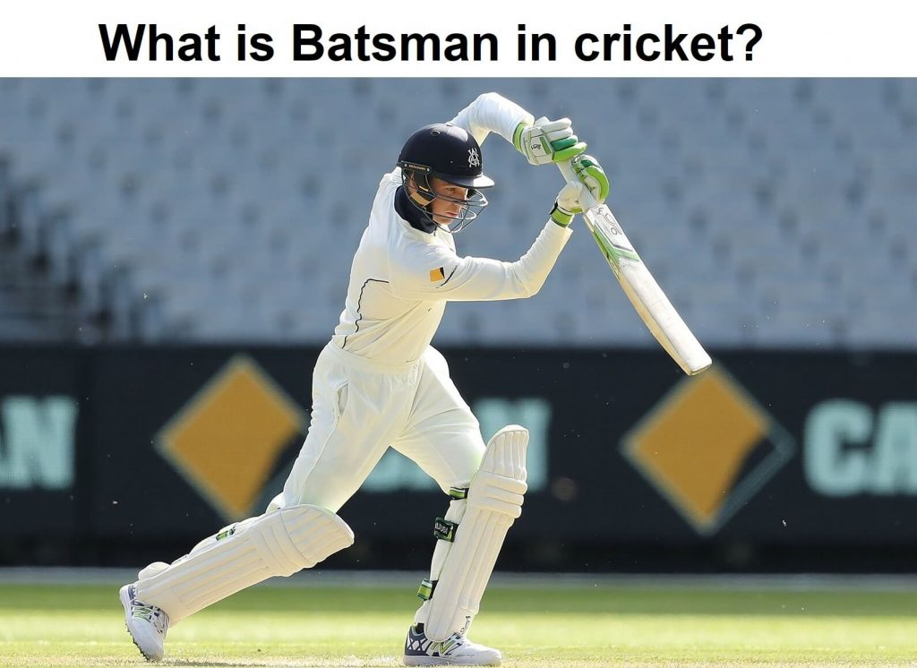 Batsman in cricket is trying to hit the ball