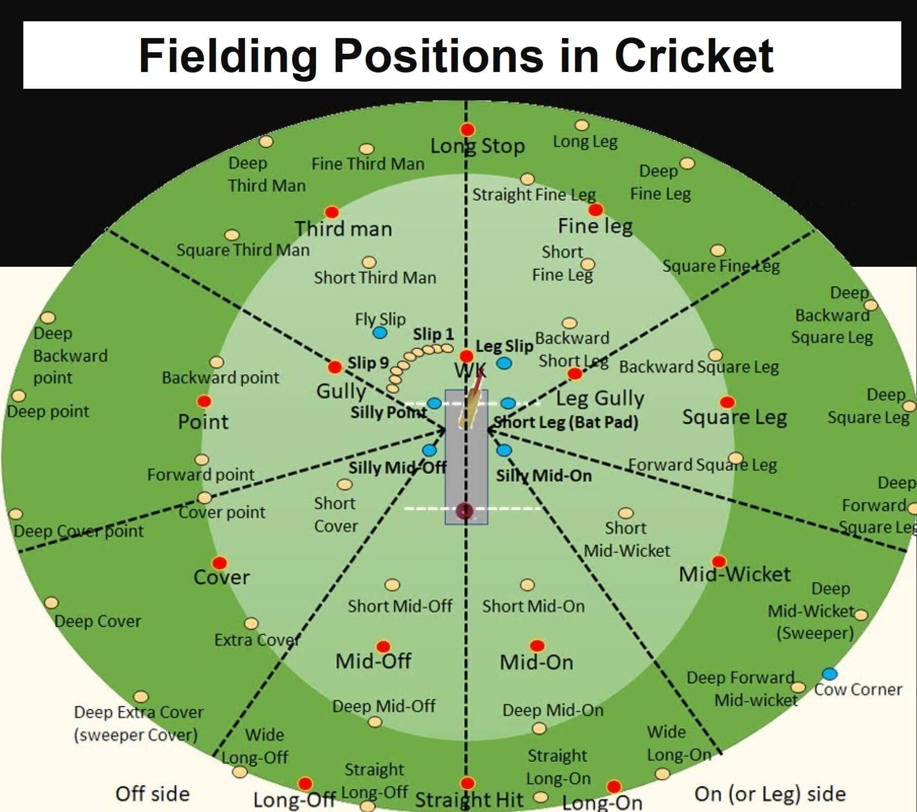Cricket positions on the field