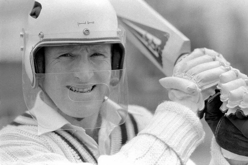Dennis Amiss cricket player wearing helmet for the first time in the game of cricket