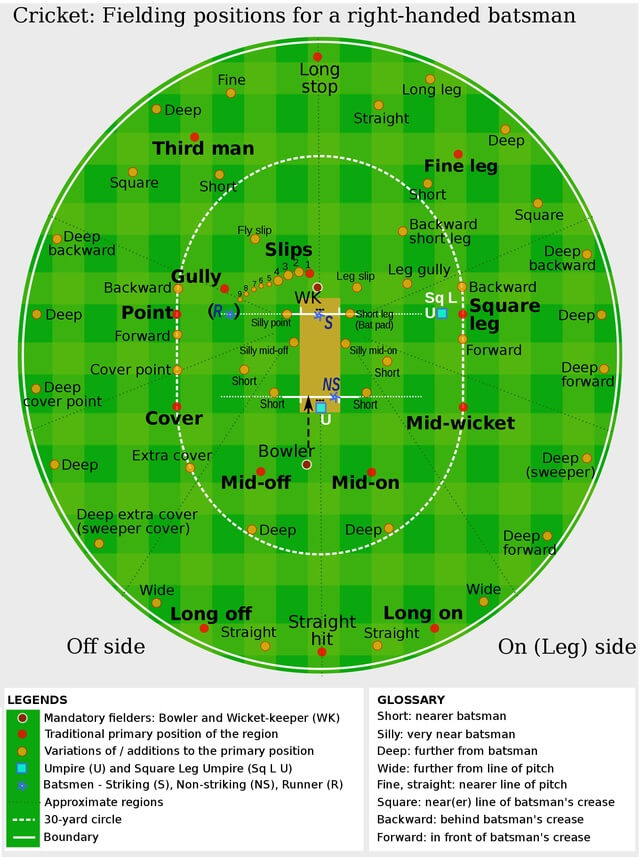 Positions in cricket in accordance to their spot on the field