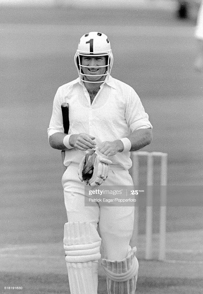 First ever cricket helmet worn by cricket player Dennis Amiss