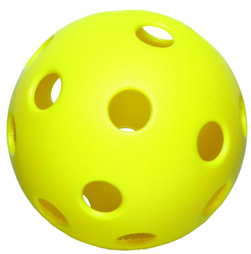 Pickleball is played with this type of plastic ball, called whiffle ball