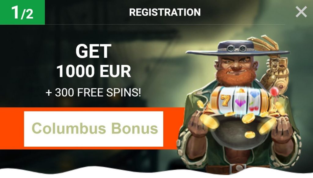 Columbus welcome bonus and free spins