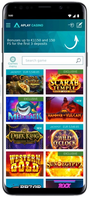 Aplay casino application Android iOS