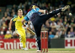 Can the batsman kick the cricket ball