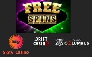 Bonus codes for free spins in Slotv Drift and Columbus casinos