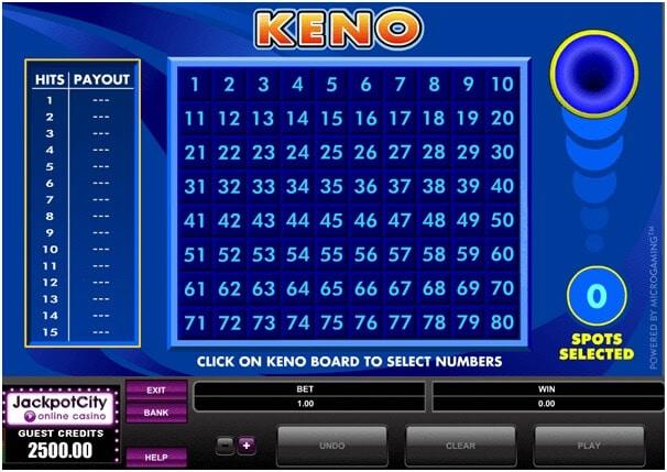 Keno joc online de pariuri