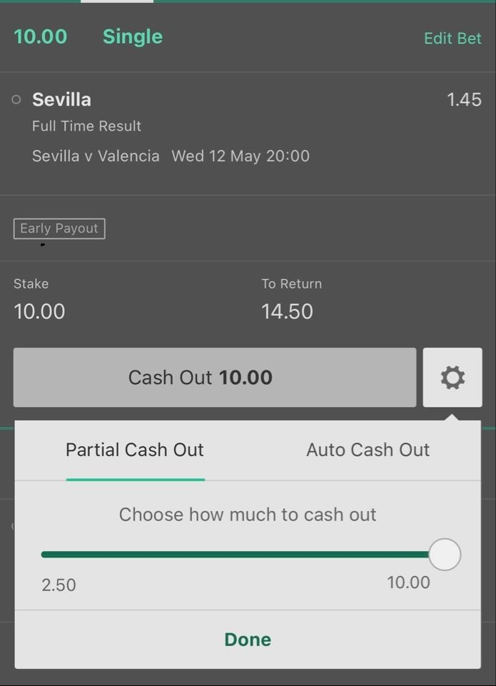 Partial cash out in a football match